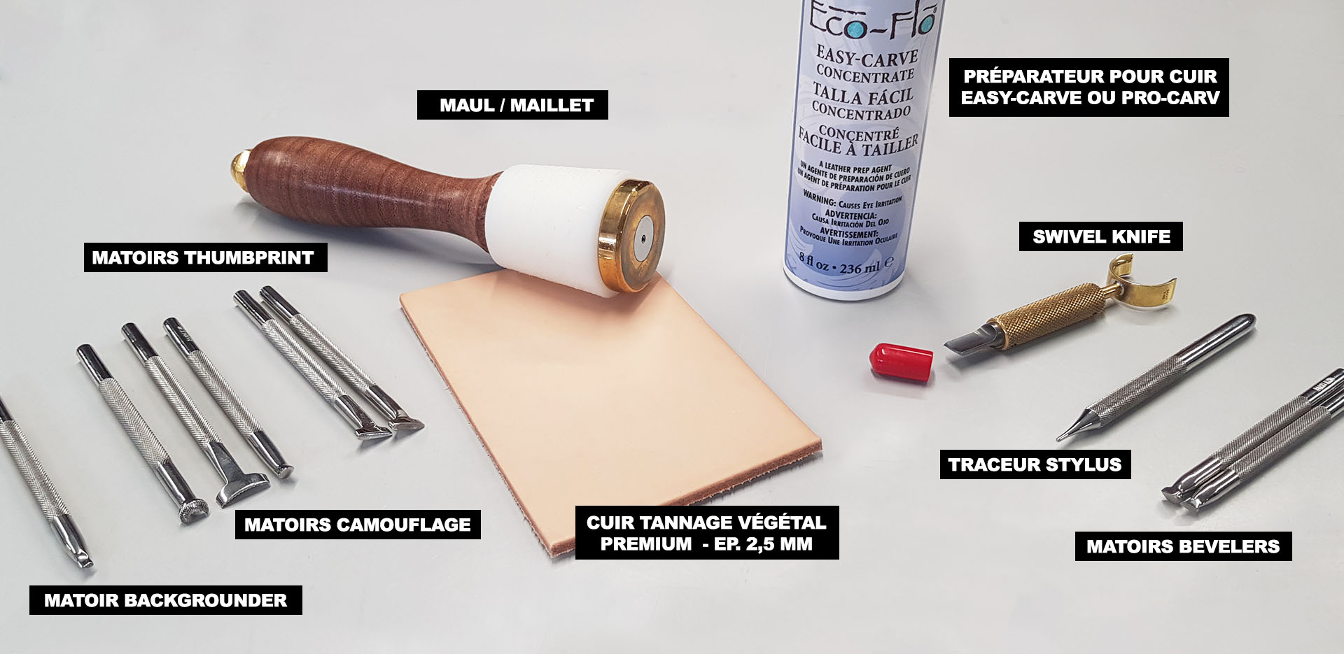 outils repoussage cuir