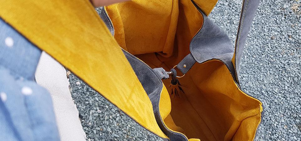 doublure sac cuir velours
