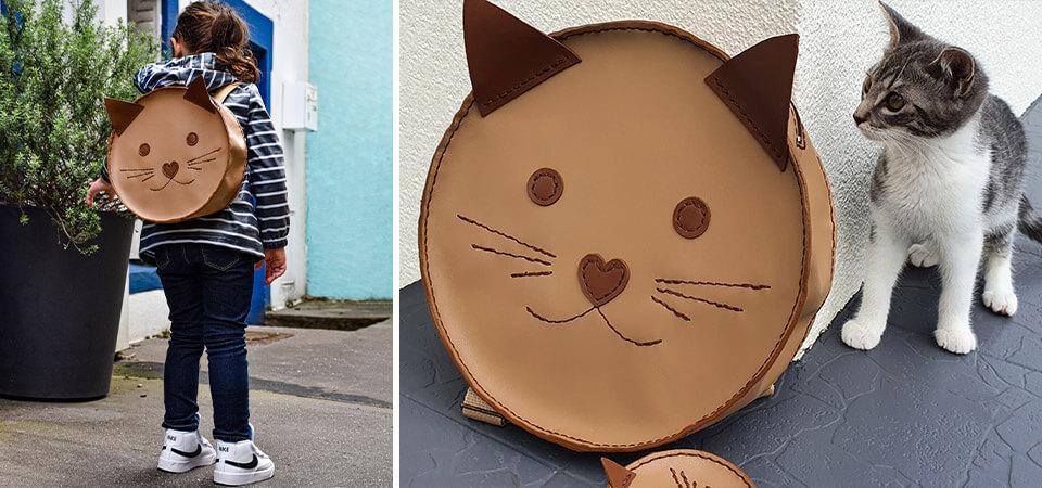 sac à dos cuir chat