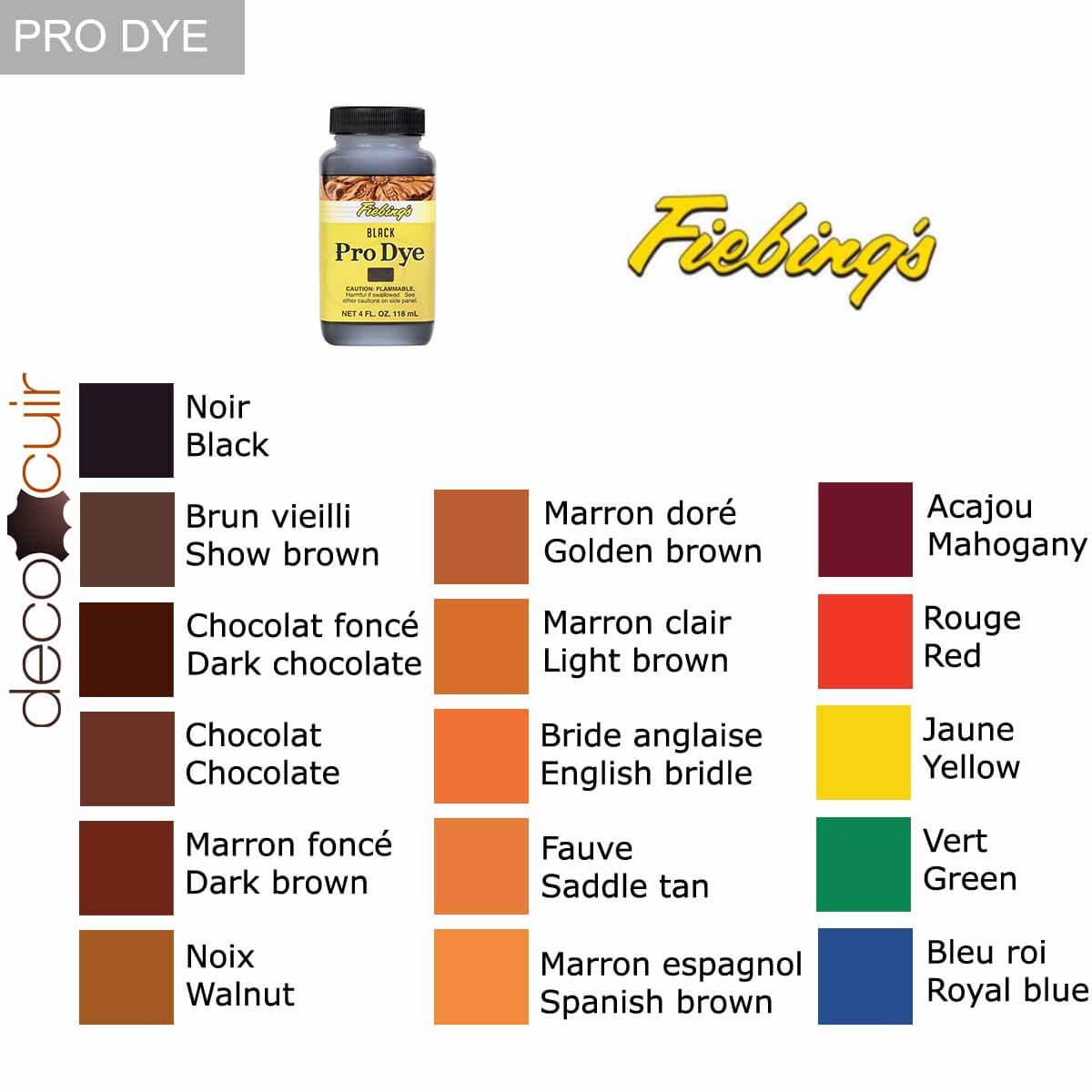nuancier teinture oil dye pro dye