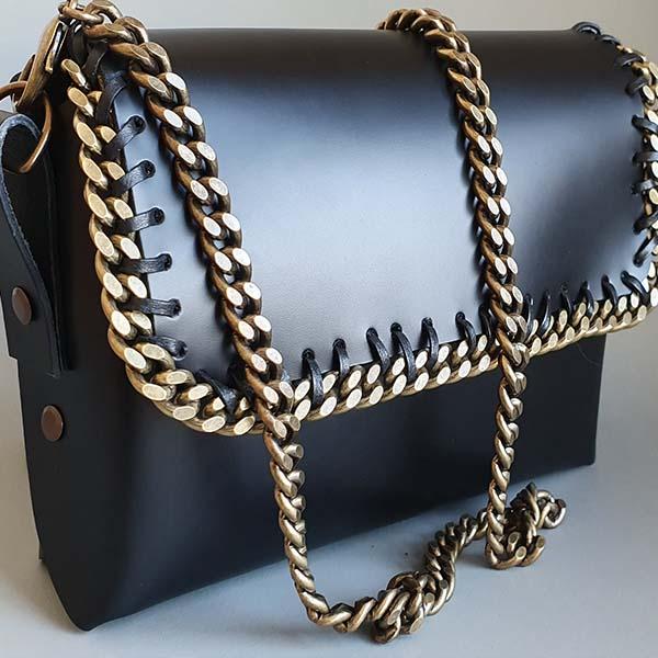 chaîne de sac tranche cuir