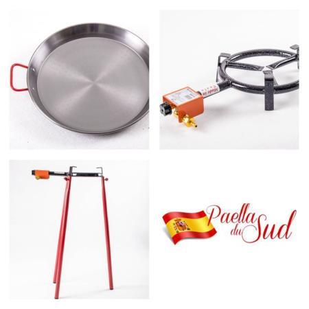 Kit à Paella acier poli pour 10 personnes