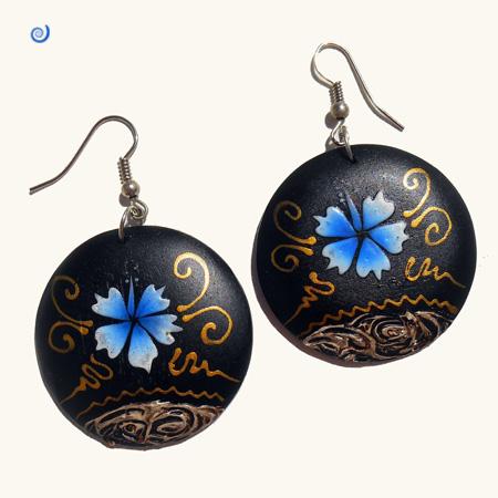 Boucles d'oreilles Rondes en Bois Peint Hibiscus Bleu