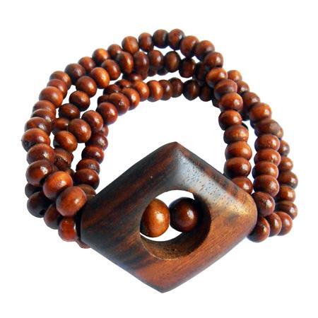 Bracelet en Bois Rangées de perles avec médaillon losange