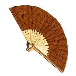 Eventail Large en Bambou et Batik Tons Marrons Bruns - Artisanat Indonésie