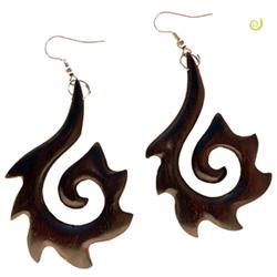 Grandes Boucles d'oreilles en Bois Spirale Ethnique