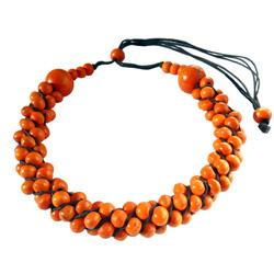 Collier en Bois Orange Torsade de perles Original et Artisanal