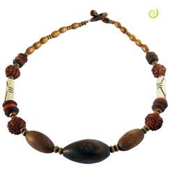 Collier Ethnique perles Bois Os Rudraskha Graines