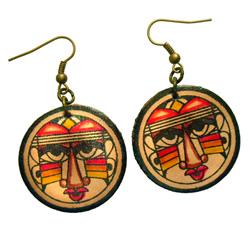 Boucles d'oreilles Originales rondes en simili cuir imprimé visages ethniques