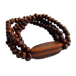 Bracelet en Bois Rangées de perles avec forme en bois longue