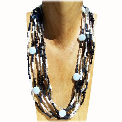 Collier en perles de verre et rocailles avec nacre Noir blanc Gris