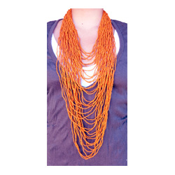 Collier extra long orange rangs de perles de rocailles
