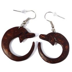 Boucles d'oreilles Dauphins en noix de coco