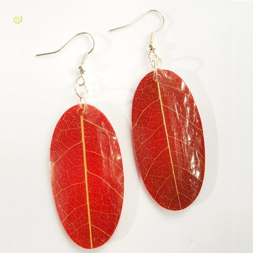 Boucles d'oreilles Originales Rouges Vraies Feuilles d'arbre Végétales