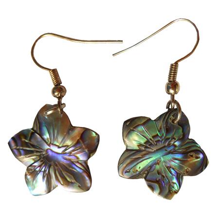 Petites boucles d'oreilles petites fleurs en nacre Abalone naturelle