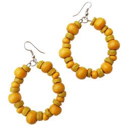 Boucles d'Oreilles créoles fantaisie Originales Jaunes Perles en Bois et Coco