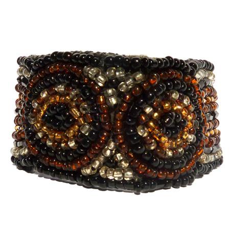 Bracelet original broderie de perles de rocaille noir marron doré