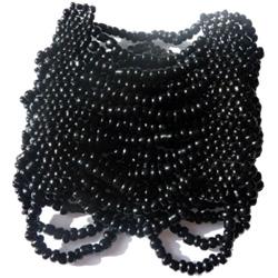 Bracelet manchette Noir 15 rangs de grosses perles de rocaille