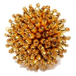 Bague originale dorée en perles fantaisie forme Oursin Artisanat de Bali