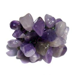 Grosse Bague originale en perles avec Chips d'Améthyste pierre naturelle