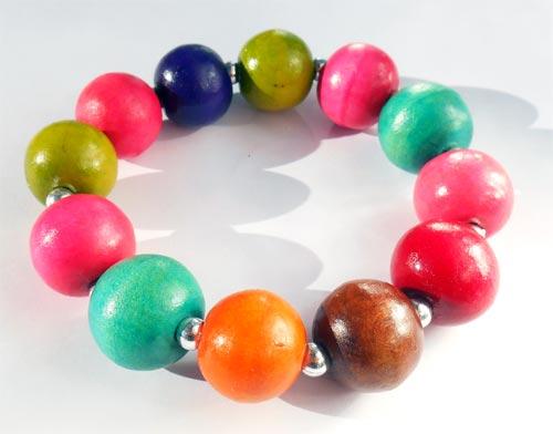 Bracelet original en Bois Perles Rondes Multicolores