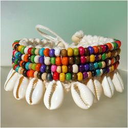 Bracelet de Cheville en Crochet et Coquillages Cauris Perles en bois multicolores