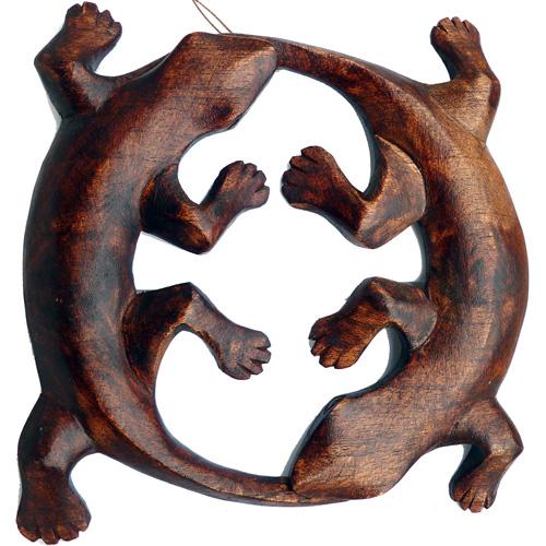 Deux Lézard Gecko forme ronde en bois pour décoration murale