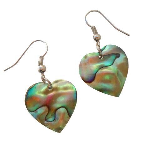 Petites boucles d'oreilles petits coeurs en nacre Abalone naturelle