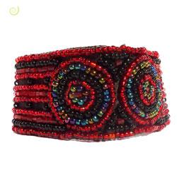 Bracelet Original Mode ethnique en perles de rocaille Dominante Rouge