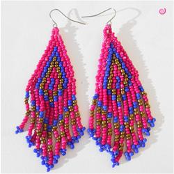 Boucles d'oreilles Tissage et Franges Roses et Bleues en Perles de Rocailles Style Ethnique