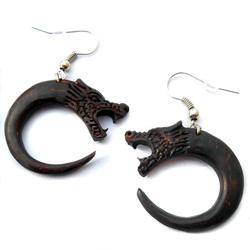 Boucles d'oreilles Dragons en noix de Coco Sculptée - Artisanat de Bali