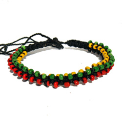 Bracelet rasta tressé torsade avec perles pour homme ou pour femme