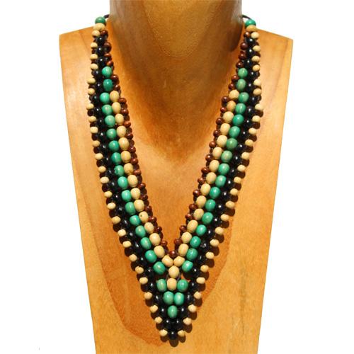 Collier Perles en Bois Forme en V Tissage de perles - Beige - Noir- Vert Bleu - Marron