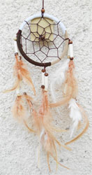 Dreamcatcher Attrape-Rêves Marron Blanc Beige Perles Bois & Os