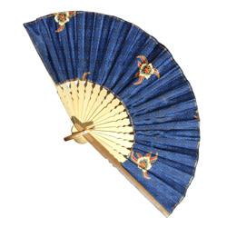 Eventail Large en Bambou et Batik Couleur Bleue - Artisanat Indonésie