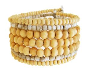 Perles en bois clair et verre beige antique manchette