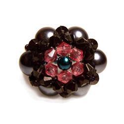 Bague en perles artisanale modèle Luna couleurs Gris Noir Rose