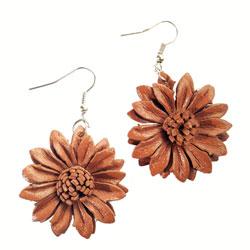 Boucles d'oreille Originales en cuir Fleurs Marrons Clair
