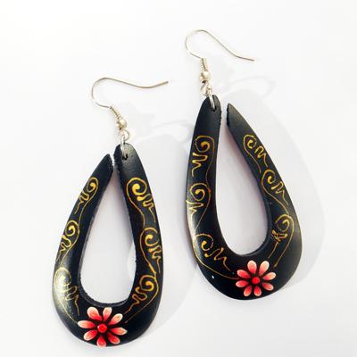 Boucles d'oreilles Gouttes en Bois Peint à la main fleurs rouges