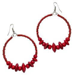 Boucles d'Oreilles Rouges Anneaux Style Créoles Rocailles et Perles en Bois