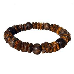 Bracelet surf perles en noix de coco et bois de palmier