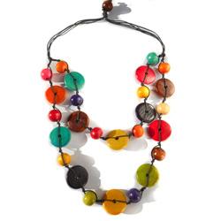 Collier Original 2 rangs de perles en Bois Multicolores Artisanat