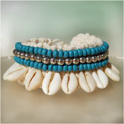 Bracelet pour Poignet ou Cheville en Crochet et Coquillages Cauris Perles Bleu et Argenté