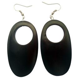 Boucles d'oreilles en bois longues Pendantes Forme Ovale