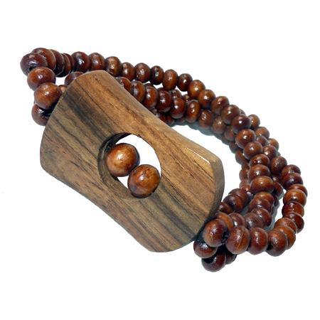 Bracelet en Bois perles sur élastiques avec forme en bois originale
