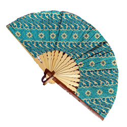 Eventail Large en Bambou et Batik Tons Bleus / Turquoise - Artisanat Indonésie