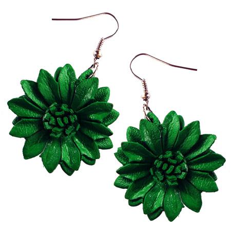 Boucles d'oreilles Originales Fleurs Vertes en cuir