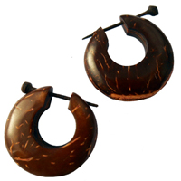 Boucles d'oreilles en Noix de Coco Créations Originales Artisanat Indonésien