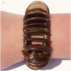 Bracelet en noix de coco demi cercles