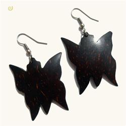 Boucles d'Oreilles Papillons en Noix de Coco
